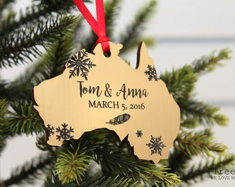 Personalized Christmas Tree Decoration, Custom Wooden Christmas Gift By  TreeX, Australia Shape Decoration