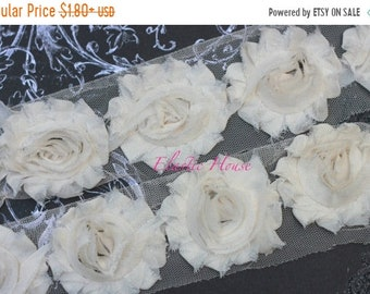 "SALE 30% OFF 2.5"" Shabby Rose Trim - Cream/Ivory Color - Chiffon Trim - Hair Accessories  Supplies"