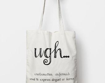 canvas tote bag, humor tote, grammar tote, funny gift, DGAF tote bag