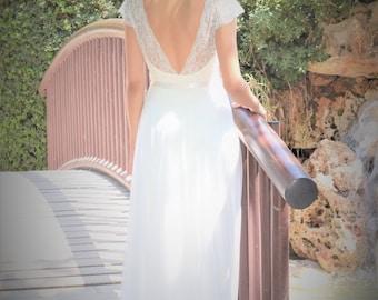 Addison - Romantic wedding dress with lace top and chiffon skirt, boho wedding dress, backless  wedding dress, beach wedding dress