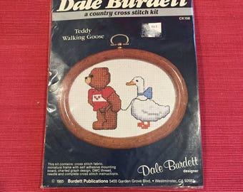 Dale Burdett, Teddy Walking Goose, Counted Cross Stitch, New