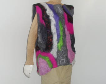 Nuno Felted Tunic Black Silk with Abstract Design