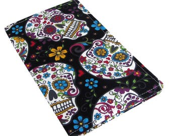 Fabric Checkbook Holder - Slim, Two Pocket Design Holds Cash And Checkbook - Sugar Skull Fabric - Women's