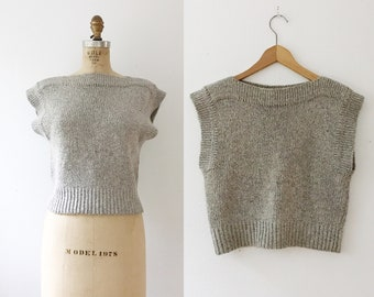 vintage knit sweater / cropped sweater / 80s Confetti Sweater