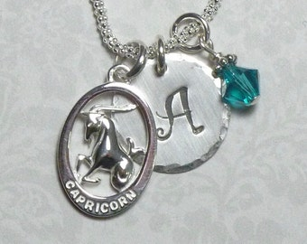 Capricorn Necklace - Personalized Capricorn Zodiac Hand Stamped Sterling Silver Initial Charm Necklace - Capricorn Star Sign