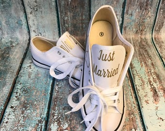 ON SALE wedding shoes - wedding tennis shoes - wedding reception shoes - wedding photo props - personalized wedding shoes - bridal shower gi