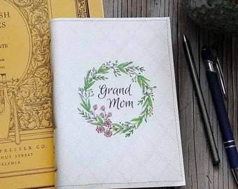grandmom journal - grandmom, floral wreath, grams, grandmother journal, grandmom diary, grandmother gift, memory book, gifts under 25