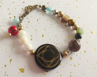 "Bracelet has multicolored baroque spirit ""Roman"""