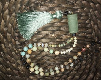 Semi precious gemstones tassle necklace