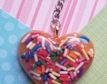 WEAR ORANGE Sprinkle Heart Keychain Pastel Goth Wear Orange Movement