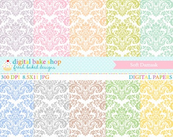 digital papers damask pastel wedding baby - Soft Damask Papers
