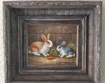 Sale Antique Style Realism Oil Painting Portrait of Two Rabbits O/C European Genre Art Signed Framed