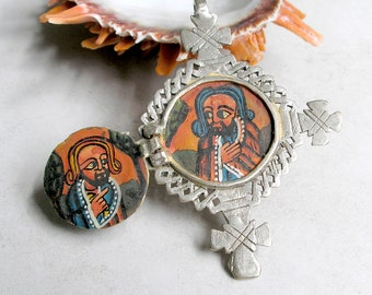 Painted Icon Coptic Cross Ethiopian Christian Collectible Altar Piece Tribal Ethnic Jewelry