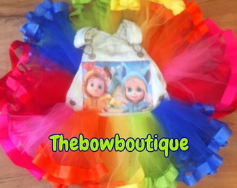 dave and ava overall ribbon trimmed tutu set