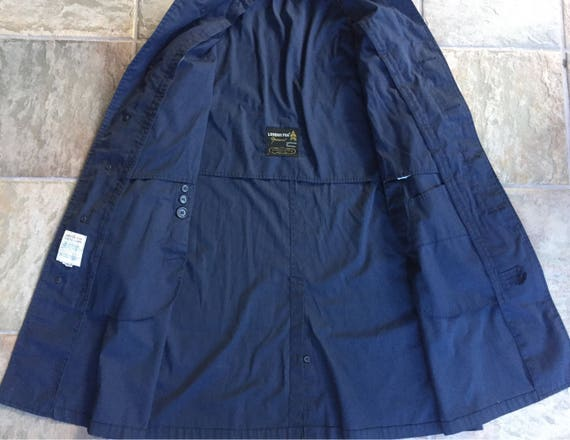 1950s 60s LONDON FOG Navy Blue Cotton Rain Coat Jacket 42L Ivy League Trad BLQDB1