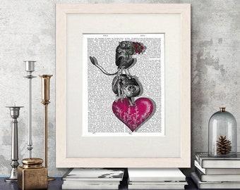 Monkey print - We Brought You Flowers monkey art print Tarsier slow loris valentines gift creepy gift creepy wall art funny animal boyfriend