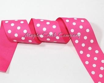 """1-1/2"""" Dark Pink (Shocking Pink) with White Polka Dot Print Grosgrain Ribbon 1.5"""" x 1 yard"""