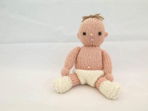 Knitting Pattern Baby Doll Softies Dress Up Doll Knitted Doll