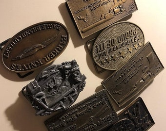 On Sale MARKED Set of Seven Belt Buckles