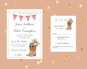 PRINTED  Cowboy Boot with Flowers Rustic Wedding Invitation and Response Card, Customized, Rustic Invitation, RSVP Card