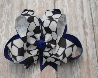 """Boutique Soccer Layered 4"""" Hair Bow Can Be Customized With Team Colors"""