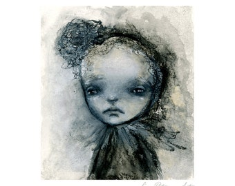 Portrait Art PRINT of Original Mixed Media Painting / Primitive / Wall Art / Home Decor / Gifts for Her / Gift / Prints / 100 Faces #40- SM