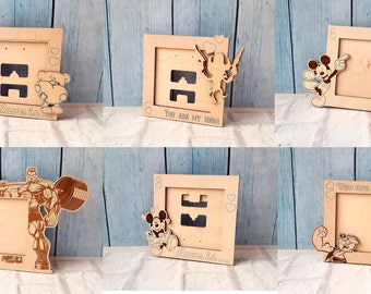 Set of photo frames. Vector model for CNC laser cutting. CNC files, CNC patterns. Wooden frame,  gift for her, gift for him. Valentine's Day