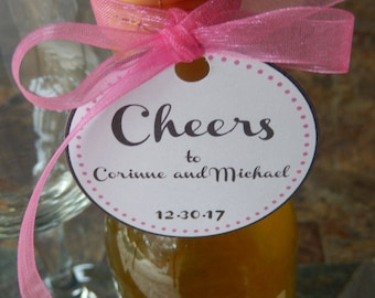 "50 - Cheers Wedding or Anniversary custom 2"" Thank You Favor Tags - for your Mini Wine, Champagne or Liquor Bottles - Couples Shower Tags"