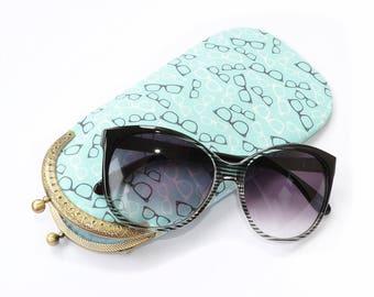 Glasses case for women Eyeglass case soft Sunglasses case clasp Eyeglasses case fabric Eyewear case Women gifts Retro glasses Hipster gift