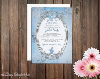 Bridal Shower Invitation -  Princess Cinderella with Damask and Frame