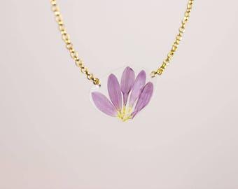 Real Pressed Flower Petal Blossom Necklace, Original Handmade & One of a Kind