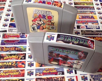 Nintendo N64 end labels -includes full libary