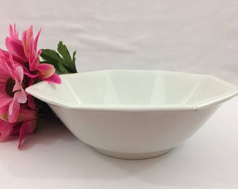 Vintage White Ironstone Vegetable Bowl By Johnson Brothers of England Octagon Shape Ribbed Edge