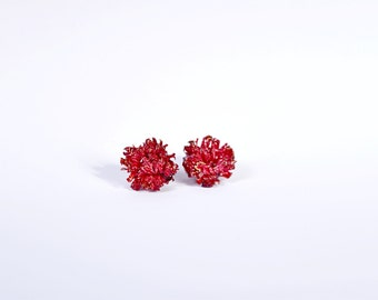 Natural stud earring plant jewelry coral gift,  red flower jewelry gift, idea for her from Nature Gold and red studs woman gift for Birthday