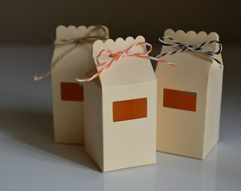 10 Paper Milk Cartons - Cream Apricot - Handmade - Candy Boxes/Favour Bags/Party Favours/Kids Party/Wedding Favours/Paper Gift Bags