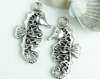 25%OFF Mykonos Fancy Filigree Seahorse Pendant Antique Silver Patina Greek Casting Metal Charm, beach sea horse pendants, nautical charms