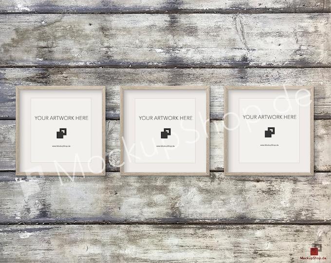 Set of 3 SQUARE MOCKUP FRAME on old wooden wall, Frame Mockup, Amazing brown photo frame mockup, Digital Download