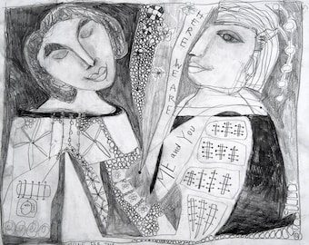 Drawing, Folk Art, Outsider Art Drawing, Love