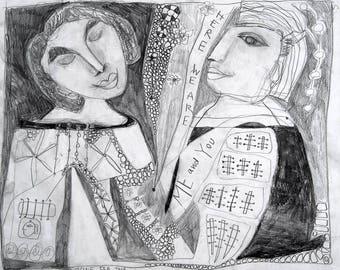 Zeichnung, Volkskunst, Outsider Art Zeichnung, Liebe