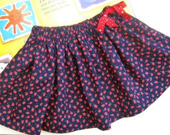Sweet Strawberry Skirt for girls aged 1 -8 years, gathered full summer skirt with elastic and functional drawstring for perfect fit navy red