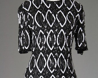 ON SALE Vintage 70s/80s Trophy Full Sequin Black/White Top 100% Silk XS/S