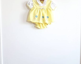 Vintage Yellow Polyester Baby Outfit