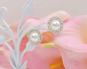 Pearl And Rhinestone Stud Earrings Pearl And Rhinestone Bridesmaid Earrings Simple Pearl And Rhinestone Bridal Earrings Bridesmaid Gift