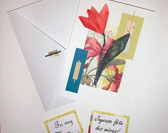 Handmade Mother's Day Card with origami flower- English or/ou Français