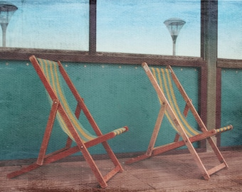 Deck Chair Photography, Coastal Photography, Deck Chair Photo, Bournemouth Deck Chair Picture, Coast Photo, Pier Photo, Vintage Style