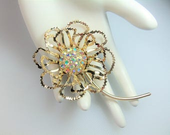 Vintage Polished Gold Tone Open Leaf Flower Pin Brooch w Aurora Borealis Rhinestone Cluster Center Signed Sarah Coventry Circa 1968 Allusion