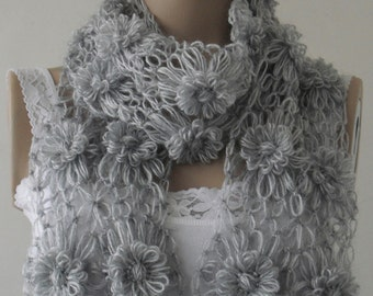 EXPRESS SHIPPING! gray women scarf, knit fashion, gift for christmas, gift for women, gift for her, gift for mom, sister gift / FORMALHOUSE