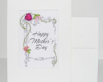 Mother's Day card, embroidered purple rose greeting card, silk ribbon card, handmade card, ribbon embroidery card