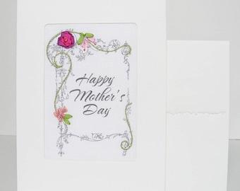 Carte de fête des mères, carte voeux brodée rose violet, carte de ruban de soie, carte de voeux, carte de broderie ruban