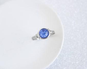 Stainless Steel Ring - Rings for Women - Beaded Ring - Blue Rings - Rings For Her - Gift For Friend - Boho Rings - Rings - Wire Wrapped Ring